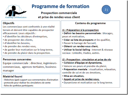 programme de formation prospection commerciale